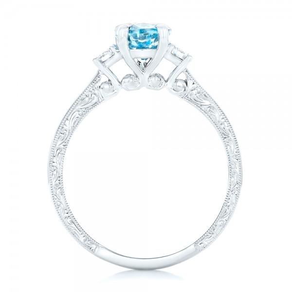 Custom Three Stone Aquamarine and Diamond Engagement Ring - Finger Through View