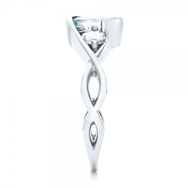 Custom Three Stone Aquamarine and Diamond Engagement Ring - Side View