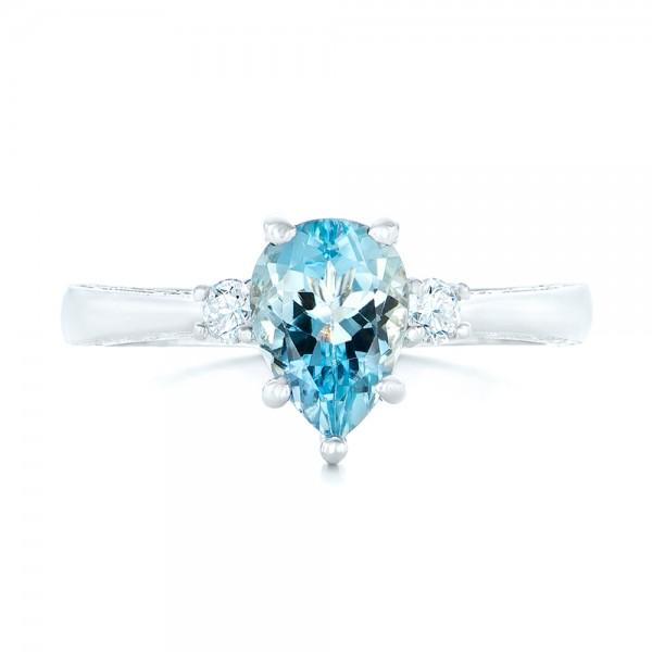 Custom Three Stone Aquamarine And Diamond Engagement Ring