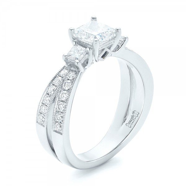 Custom Three Stone Blue Sapphire and Diamond Engagement Ring