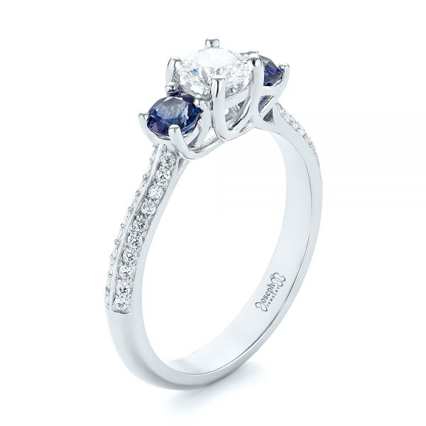 Custom Three Stone Blue Sapphire and Diamond Engagement Ring
