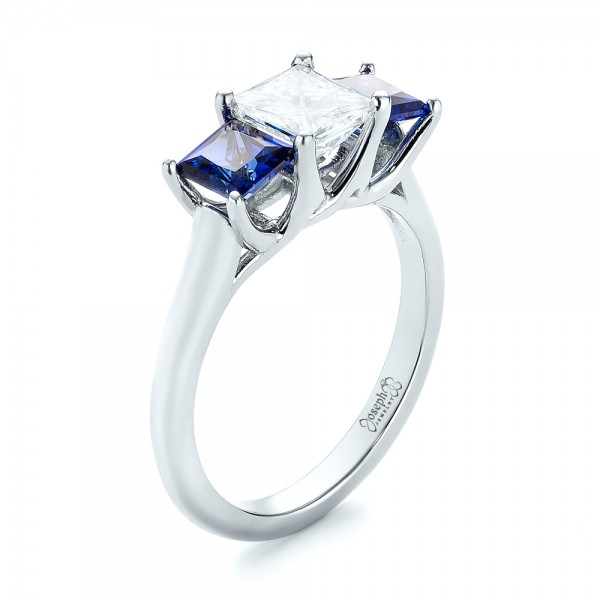Custom Three Stone Blue Sapphire and Diamond Engagement Ring - Image
