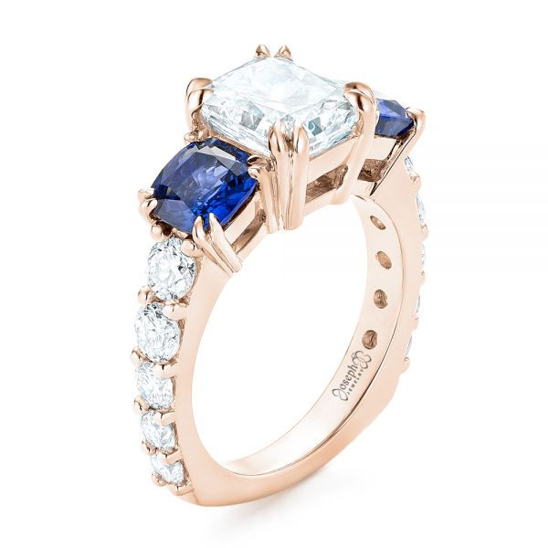 14k Rose Gold 14k Rose Gold Custom Three Stone Blue Sapphire And Diamond Engagement Ring - Three-Quarter View -  102972