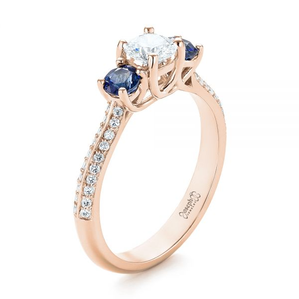 14k Rose Gold 14k Rose Gold Custom Three Stone Blue Sapphire And Diamond Engagement Ring - Three-Quarter View -