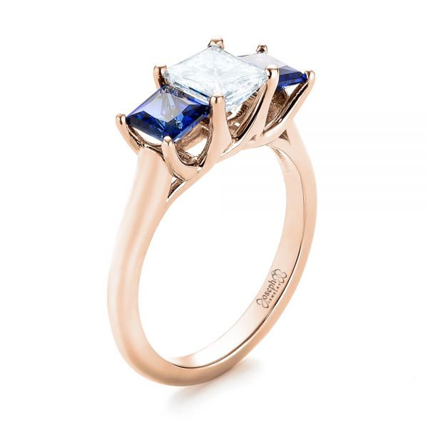 14k Rose Gold 14k Rose Gold Custom Three Stone Blue Sapphire And Diamond Engagement Ring - Three-Quarter View -  103529
