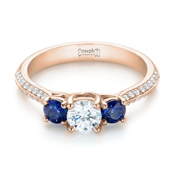14k Rose Gold 14k Rose Gold Custom Three Stone Blue Sapphire And Diamond Engagement Ring - Flat View -