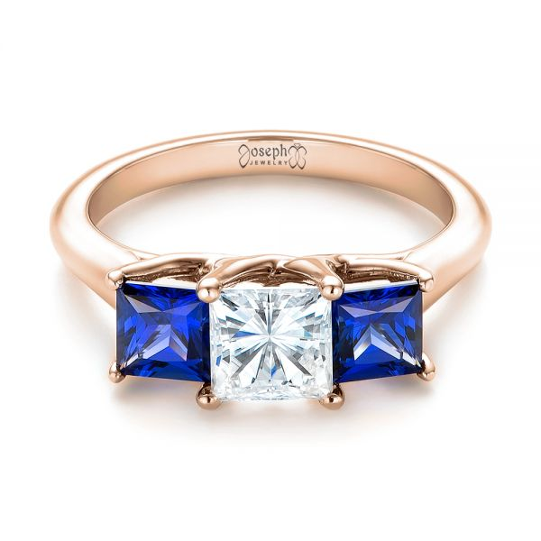 14k Rose Gold 14k Rose Gold Custom Three Stone Blue Sapphire And Diamond Engagement Ring - Flat View -  103529