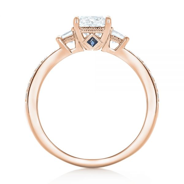 18k Rose Gold 18k Rose Gold Custom Three Stone Diamond Engagement Ring With Blue Sapphires - Front View -