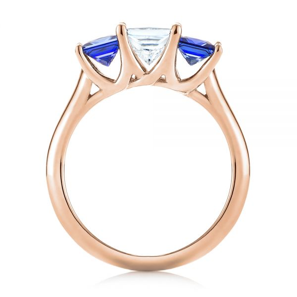 14k Rose Gold 14k Rose Gold Custom Three Stone Blue Sapphire And Diamond Engagement Ring - Front View -  103529