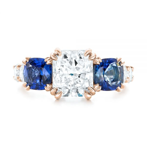 14k Rose Gold 14k Rose Gold Custom Three Stone Blue Sapphire And Diamond Engagement Ring - Top View -  102972
