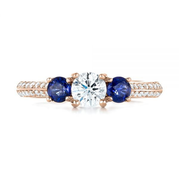 14k Rose Gold 14k Rose Gold Custom Three Stone Blue Sapphire And Diamond Engagement Ring - Top View -