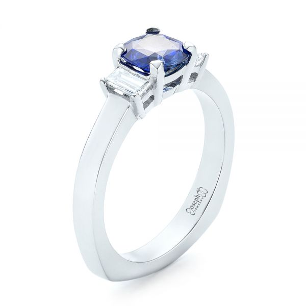 Platinum Platinum Custom Three Stone Blue Sapphire And Diamond Engagement Ring - Three-Quarter View -