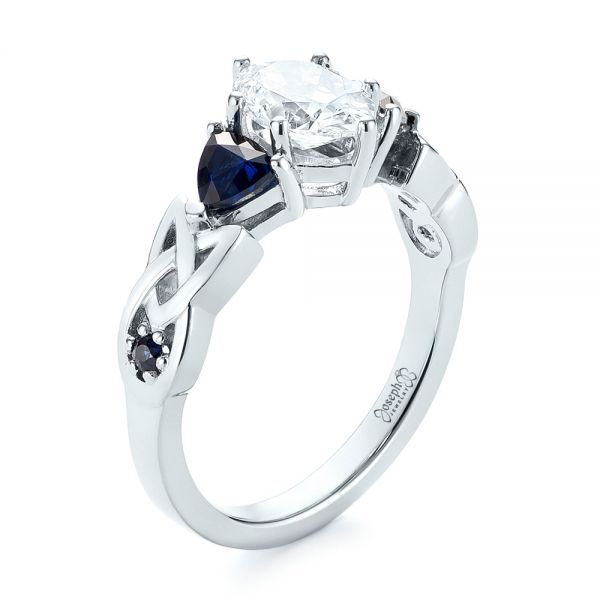 Platinum Custom Three Stone Blue Sapphire And Diamond Engagement Ring - Three-Quarter View -