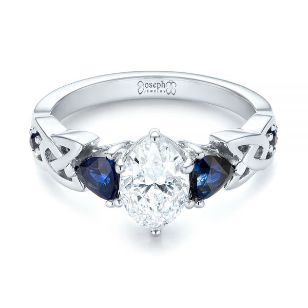 Platinum Custom Three Stone Blue Sapphire And Diamond Engagement Ring - Flat View -