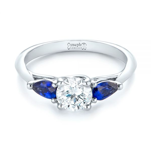 14k White Gold Custom Three Stone Blue Sapphire And Diamond Engagement Ring - Flat View -  103507