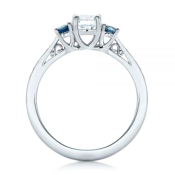 14k White Gold Custom Three Stone Blue Sapphire And Diamond Engagement Ring - Front View -