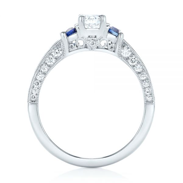 Platinum Custom Three Stone Blue Sapphire And Diamond Engagement Ring - Front View -