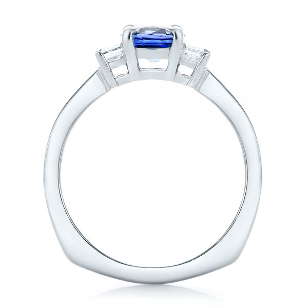 Platinum Platinum Custom Three Stone Blue Sapphire And Diamond Engagement Ring - Front View -