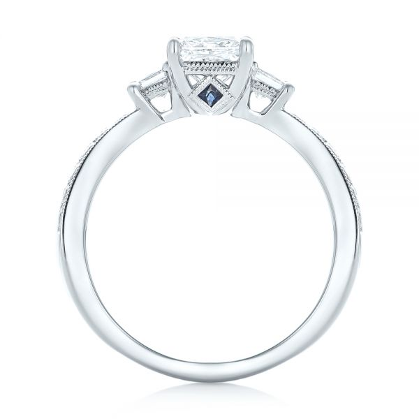 18k White Gold 18k White Gold Custom Three Stone Diamond Engagement Ring With Blue Sapphires - Front View -