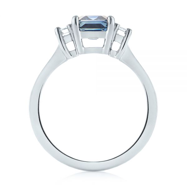 14k White Gold 14k White Gold Custom Three Stone Blue Sapphire And Diamond Engagement Ring - Front View -