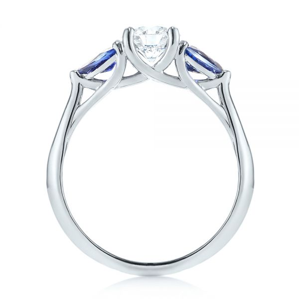 14k White Gold Custom Three Stone Blue Sapphire And Diamond Engagement Ring - Front View -  103507