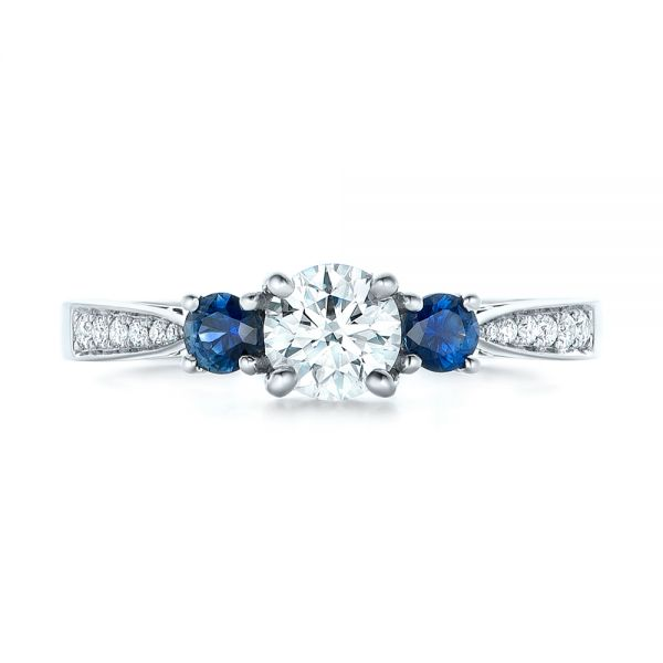 14k White Gold Custom Three Stone Blue Sapphire And Diamond Engagement Ring - Top View -