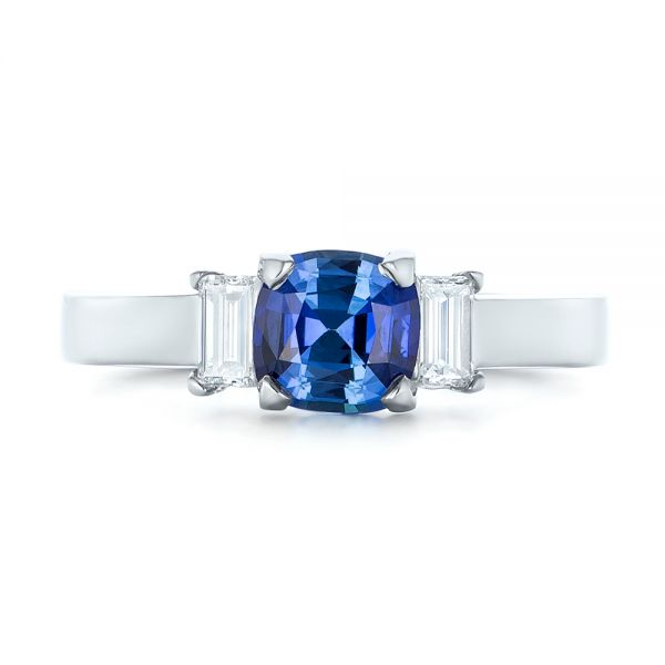 Platinum Platinum Custom Three Stone Blue Sapphire And Diamond Engagement Ring - Top View -