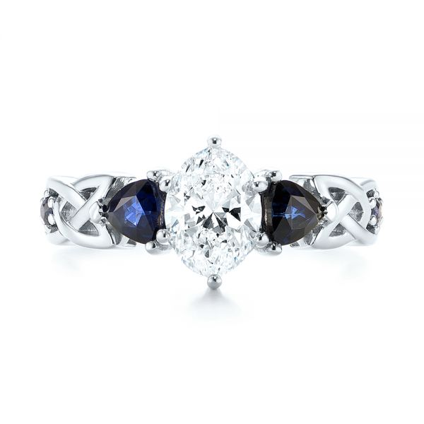 Platinum Custom Three Stone Blue Sapphire And Diamond Engagement Ring - Top View -