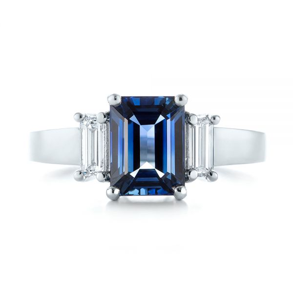 14k White Gold 14k White Gold Custom Three Stone Blue Sapphire And Diamond Engagement Ring - Top View -