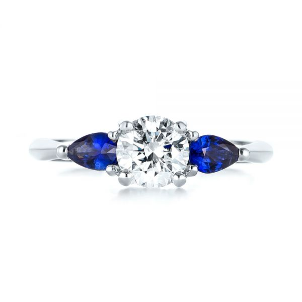 14k White Gold Custom Three Stone Blue Sapphire And Diamond Engagement Ring - Top View -  103507