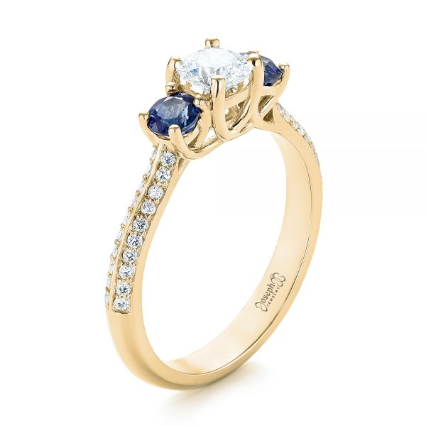 14k Yellow Gold 14k Yellow Gold Custom Three Stone Blue Sapphire And Diamond Engagement Ring - Three-Quarter View -