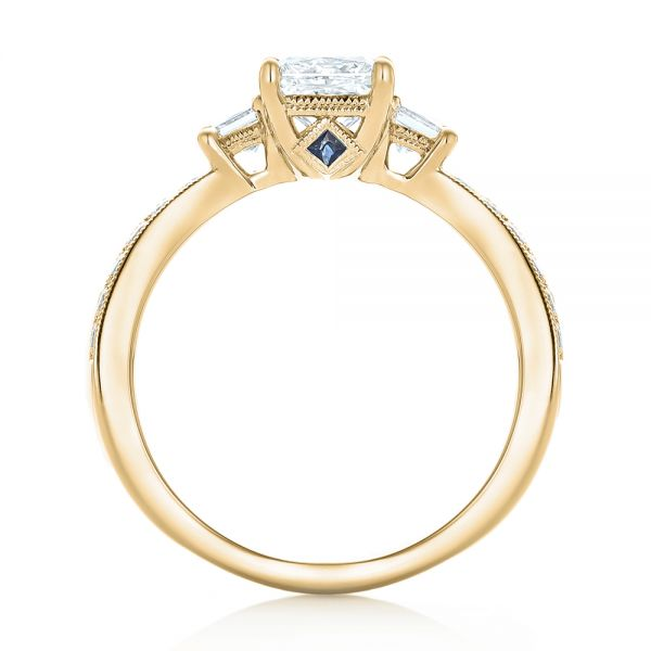 18k Yellow Gold 18k Yellow Gold Custom Three Stone Diamond Engagement Ring With Blue Sapphires - Front View -