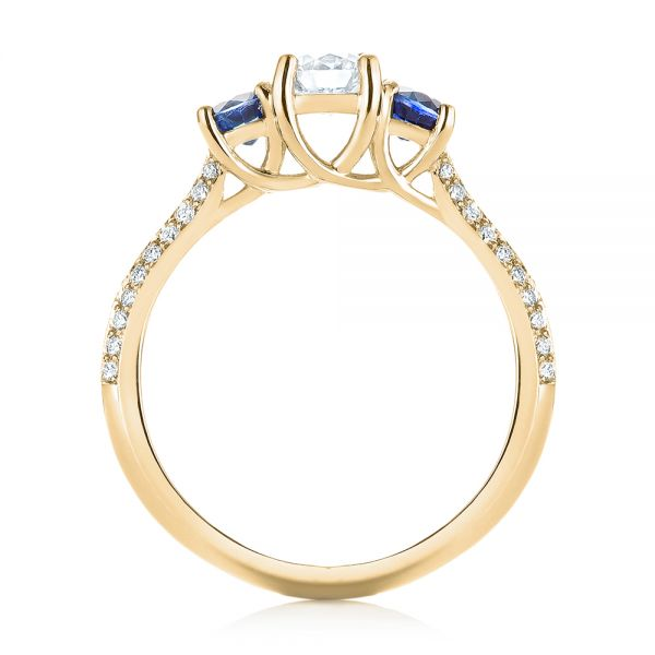 14k Yellow Gold 14k Yellow Gold Custom Three Stone Blue Sapphire And Diamond Engagement Ring - Front View -