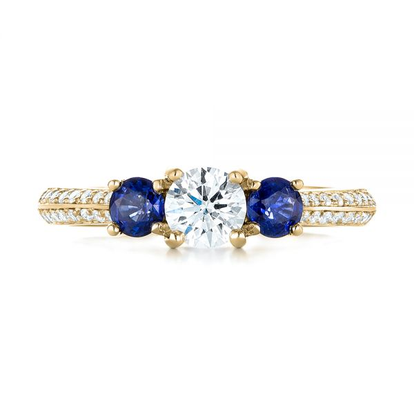 14k Yellow Gold 14k Yellow Gold Custom Three Stone Blue Sapphire And Diamond Engagement Ring - Top View -