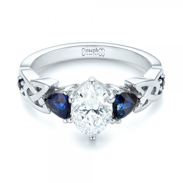 Custom Three Stone Blue Sapphire and Diamond Engagement Ring - Laying View