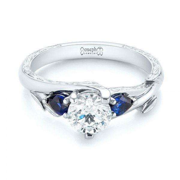 Custom Three Stone Blue Sapphire and Diamond Hand Engraved Engagement Ring - Laying View