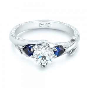 Custom Three Stone Blue Sapphire and Diamond Hand Engraved Engagement Ring