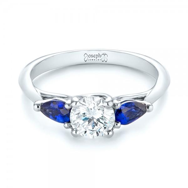 Custom Three Stone Blue Sapphire and Diamond Engagement Ring - Laying View