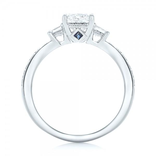 Custom Three Stone Blue Sapphire and Diamond Engagement Ring - Finger Through View