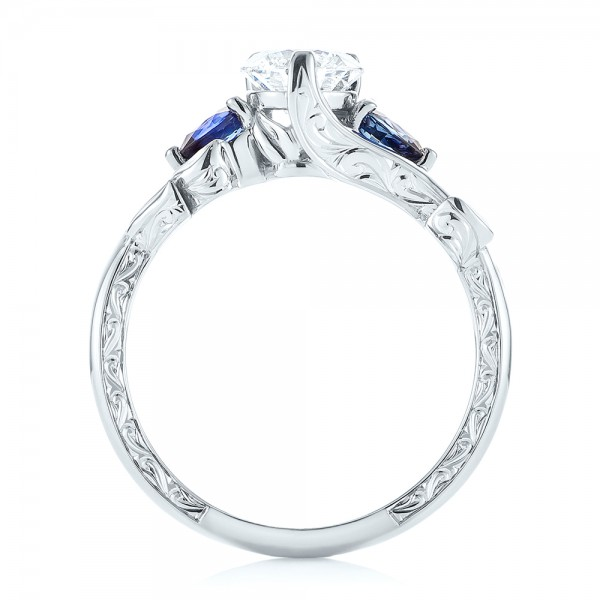 Custom Three Stone Blue Sapphire and Diamond Hand Engraved Engagement Ring - Finger Through View