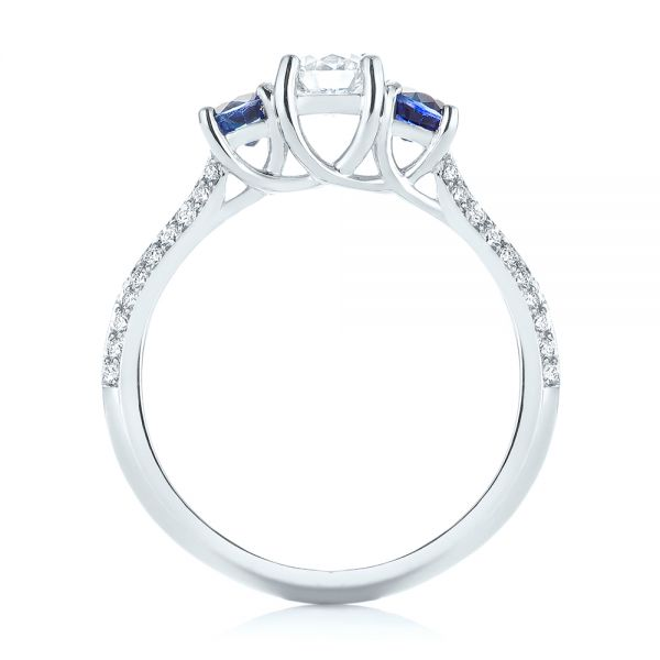 Custom Three Stone Blue Sapphire and Diamond Engagement Ring - Finger Through View