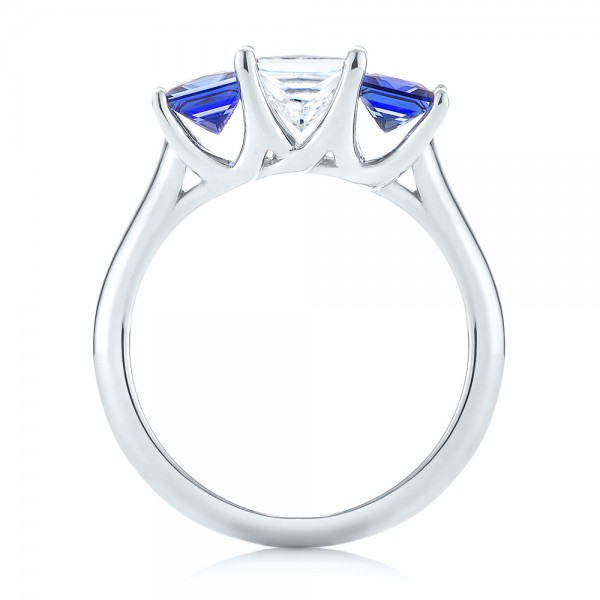 14k White Gold Custom Three Stone Blue Sapphire And Diamond Engagement Ring - Front View -  103529