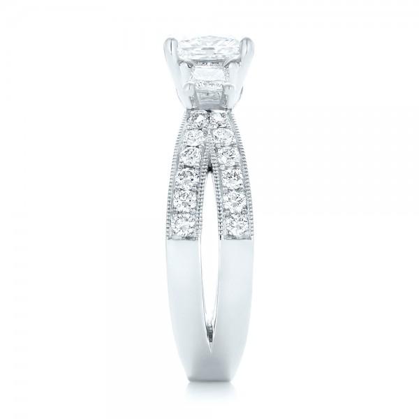 Custom Three Stone Blue Sapphire and Diamond Engagement Ring - Side View