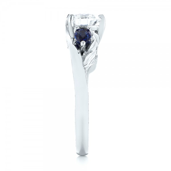 Custom Three Stone Blue Sapphire and Diamond Hand Engraved Engagement Ring - Side View