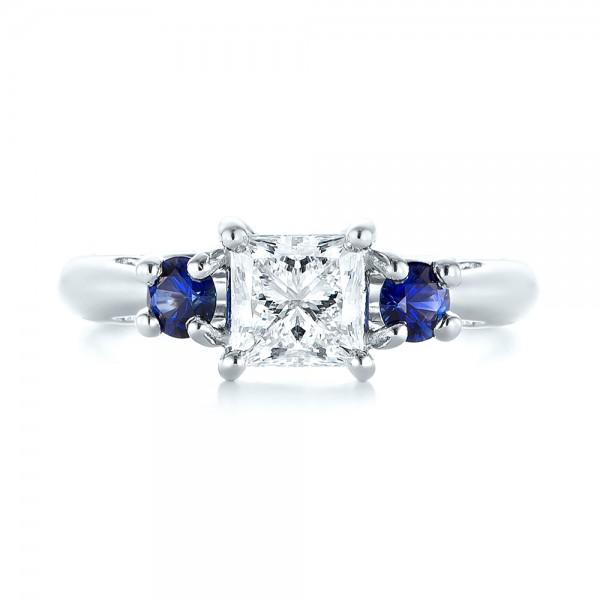 Custom Three Stone Blue Sapphire and Diamond Engagement Ring - Top View