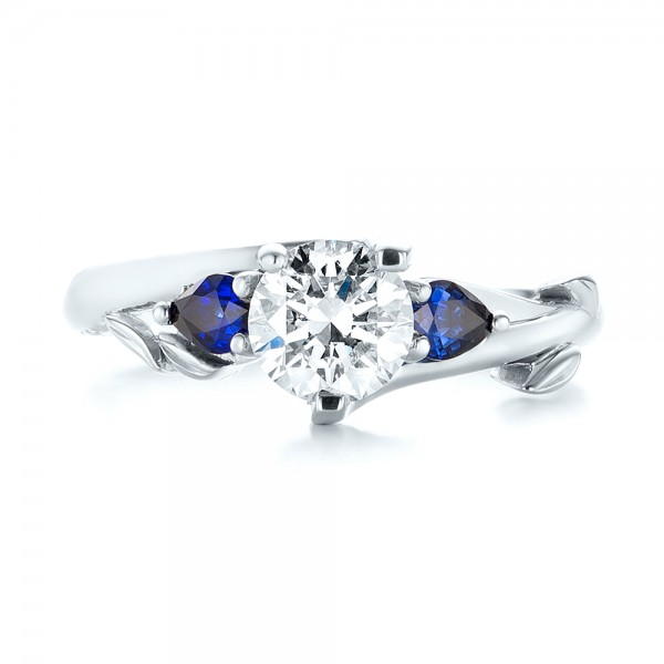 Custom Three Stone Blue Sapphire and Diamond Hand Engraved Engagement Ring - Top View