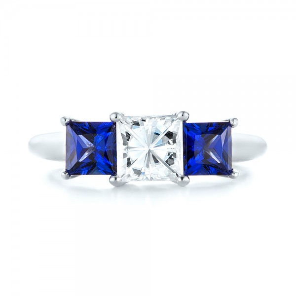 14k White Gold Custom Three Stone Blue Sapphire And Diamond Engagement Ring - Top View -  103529