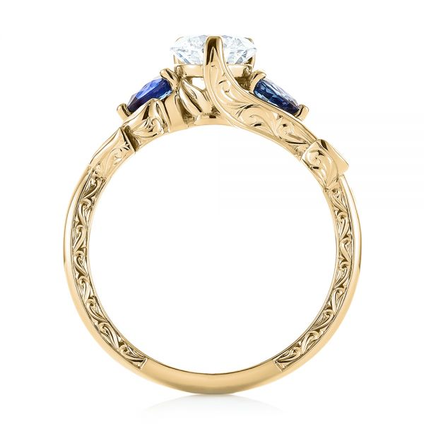 Wedding Gown Specialists Restoration Labs: 18k Yellow Gold Custom Three Stone Blue Sapphire And