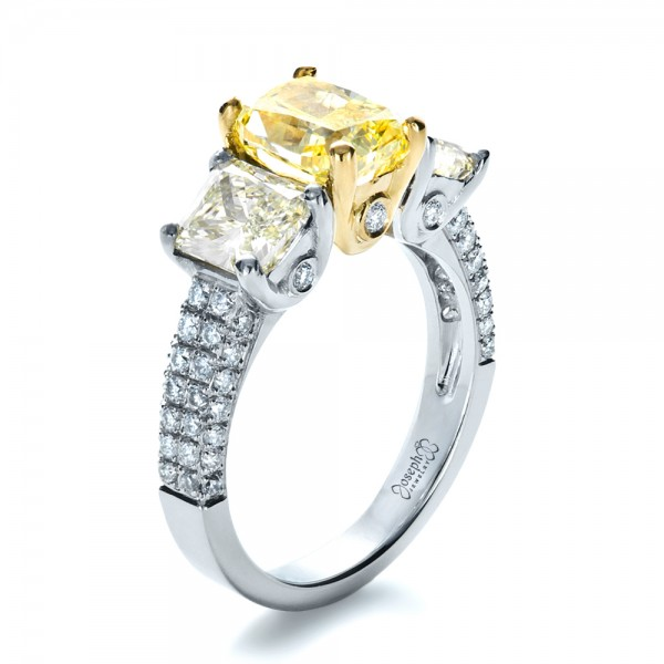 Custom Three Stone Canary Diamond Engagement Ring #1198
