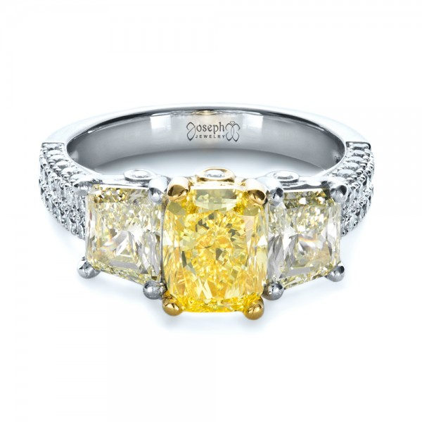 Custom Three Stone Canary Diamond Engagement Ring